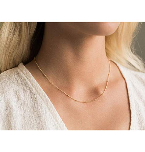 Ldurian Choker Necklace, Beaded Choker Chain, Short Small Necklace For Women Teen Girl, Dainty Trendy Jewelry (14K Gold Plated, Hammered)
