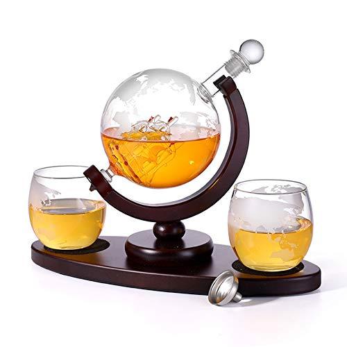 Whisky-Decanter Set Met 2 Geëtste Whisky Bril En Ovale Massieve Houten Lade, Unieke Wereldkaart Zeilen Uitstekend Cadeau…