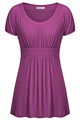 Helloacc Womens Blouses,Tops for Work Dressy Cute Summer Clothes for Teen Girls Puff Short Sleeve Ladies Baby Doll Shirts Loose Fitting Dresses for Women Scoop Neck Tunic Tops Fashion 2019 Magenta L