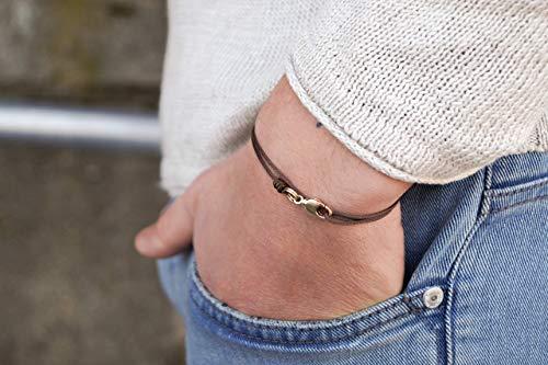 Dezentes Armband für Herren - edles Wickelarmband für Männer Minimalistisch - stufenlos verstellbar mit Karabiner-Haken Gold (braun)