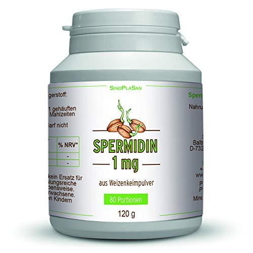 Spermidin 1 mg Pulver aus Weizenkeimen || 120 g || 80 Portionen || hochdosiert || aus deutschem Weizen || SinoPlaSan