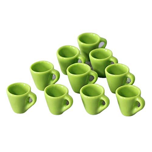 LOVEYue Mini Taza De Casa De Muñecas De 10 Piezas, Accesorios De Cocina para Juegos De Comida, Accesorios para Manualidades DIY, Juguete para Niños, Juego Casa De Muñecas Verde