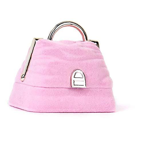 TOPofly Halskette Ring Ohrring Aufbewahrungsbox Handtasche-Form-Ring-Geschenk-Kasten-Speicher-Fall Schmuckständer Velvet rosa
