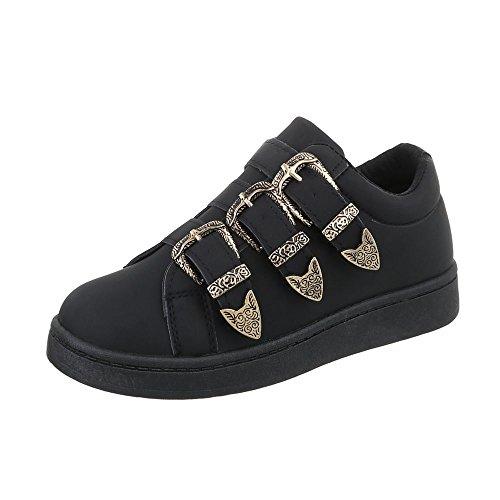 Ital-Design Sneakers Low Damen-Schuhe Sneakers Low Sneakers Schnalle Freizeitschuhe Schwarz, Gr 39, A-69-1-
