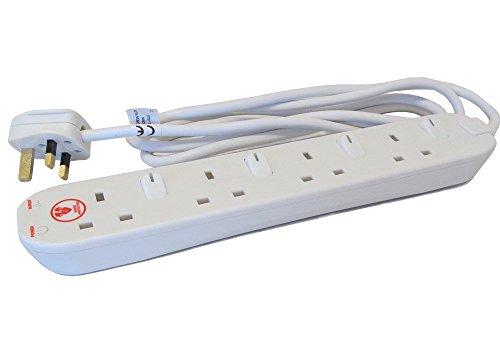 Masterplug SWSRG62N verlengkabel, 13 A, 6-voudig, overspanningsbeveiliging, met afzonderlijk geschakelde stopcontacten, 2 m Label '4G Switched Surge' wit