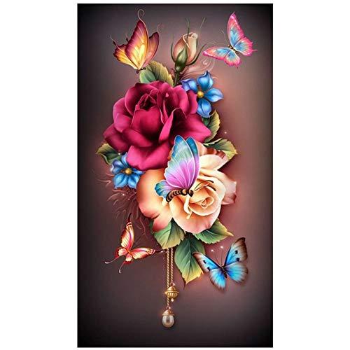Lazodaer - Kit de pintura de diamante 5D para adultos, kit de bordado de diamante redondo completo con flores y mariposas de 30 x 39 cm