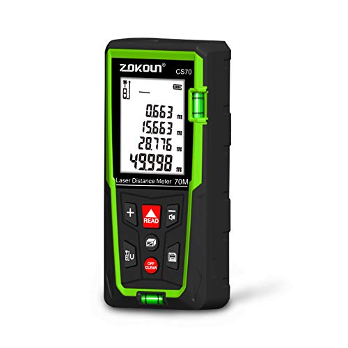 Zokoun Laser Distance Measure 230Ft, Backlit LCD, M in Ft with High Accuracy Pythagorean Mode, Measure Distance, Area and Volume, Record Storage 99 Data and Include 2 AAA Battery (CS70)