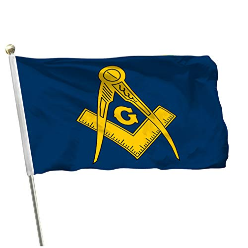 MOFAN Masonic Gold Flag Freemason Polyester Durable and Vivid Bright Color Freemason Flags with 2 Solid Grommets Indoor/Outdoor Home Garden Decoration 3x5ft