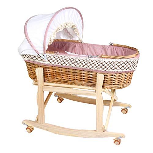 FLZT Neugeborenen Reisenest Mit Baldachin Baby Korb Tragbare ErwäHnung Korb Rattan Auto Baby Korb Bett Wiege Bett Baby Schaukel