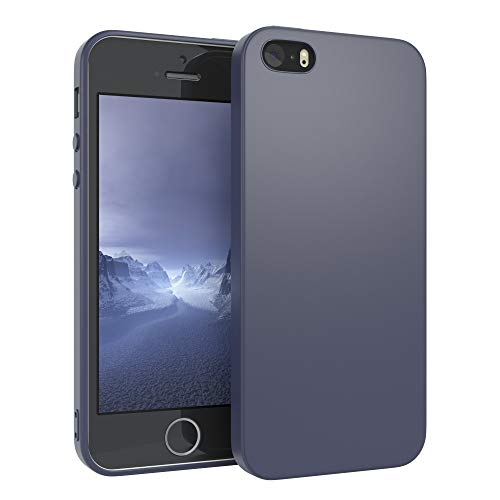 EAZY CASE Handyhülle Silikon mit Kameraschutz kompatibel mit Apple iPhone SE (2016) / 5 / 5S in Navy Blau, Ultra dünn, Slimcover, Silikonhülle, Hülle, Softcase, Backcover