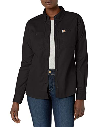 Carhartt Rugged Professional Long-Sleeve Shirt Camicie, Black, Large Donna