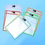 Set di 12 tasche trasparenti e cancellabili con 1 lavagna per foglio A4, 6 colori per set