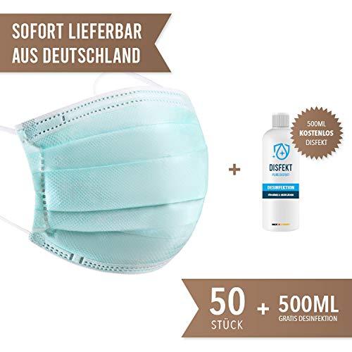 Schutzmaske.net - 50x Mundschutz Mundmaske Maske Schutzmaske mit Gummiband 3 Lagig + Gratis 500ml Disfekt Flasche (50)