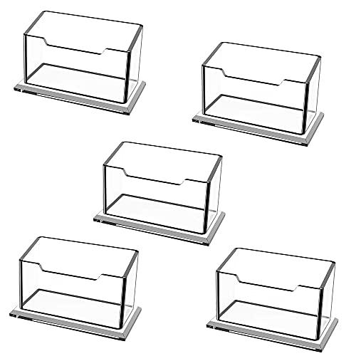 5 piezas de tarjetero acrílico soporte de exhibición de tarjeta de visita de escritorio tarjetero de plástico transparente usado en la oficina Tiene Capacidad para 60 Tarjetas Soporte de Mesa
