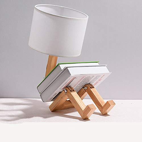 LLCX Roboter Tischlampe Kreative verstellbare Bücherregal Holz Nachttischlampe Mit Stoffschirm und E27 Lichtquelle-Kinderzimmer Büro Wohnzimmer dekorative Beleuchtung