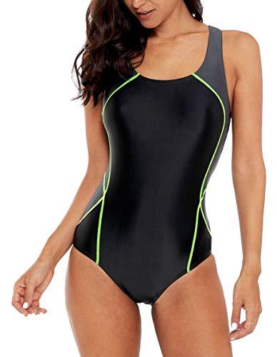 beautyin Womens One Piece Swimsuit Active Bathing Suit Sport Training Swimwear L Charcoal-Black