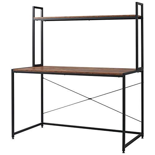 EUGAD Schreibtische Computertisch PC-Tisch Bürotisch Arbeitstisch mit Bücherregal Holz 120x60x140 cm Schwarz+Holz Vintage 0127ZZ