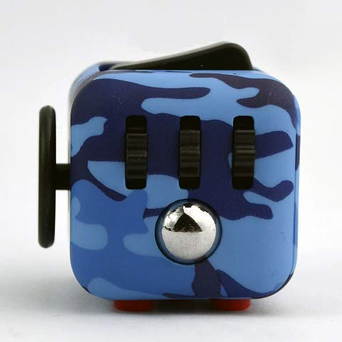 Wnnei Fidget Cube Mini Small dice Release Stress for Kids Adults antsy Anxiety Pressure Relieving Toy multiside Multicolor Camo Blue with Red