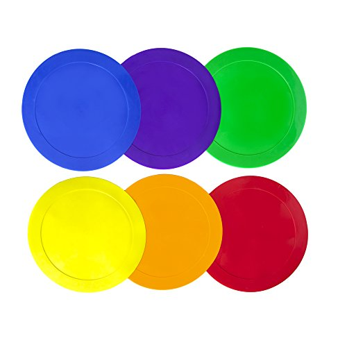 ace drills Ace Creations 9 Inch Poly Vinyl Spot Markers – for Training and Drills – Set of 6 – One of Each Red, Green, Orange, Purple, Blue, and Yellow