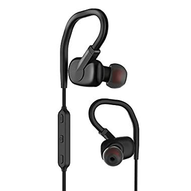 Wireless Bluetooth Headphone, IPX4 Sweatproof Bluetooth Earphone, Secure Fit Over Ear Hook, 8hrs Play Time, apt-X Codec CVC 6.0 Noise Cancellation, Built-in Mic