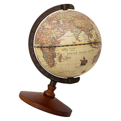 VORCOOL Round Earth Ball Retro Antique European Style Decorative Desktop World Collection Globe Model Tabletop Geography Statue for Home Office