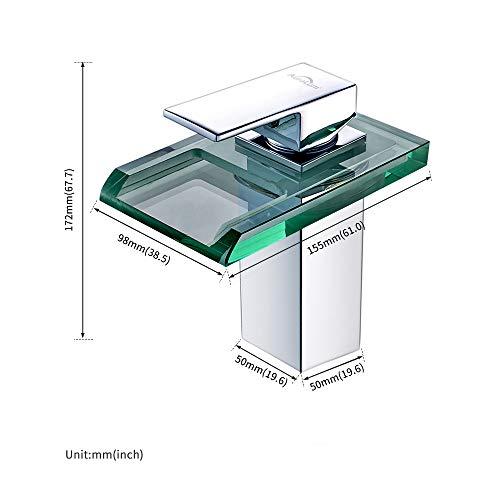 Auralum Led Waschtischarmatur Wasserfall Glas Wasserhahn mit RGB Farbewechsel Bad Badezimmer Waschbecken WC, Chrom - 5