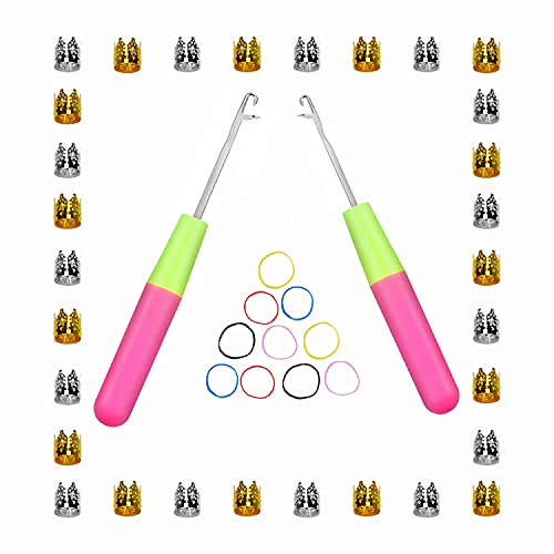 2Pcs Latch Hook Crochet Needle Extra 30Pcs of Golden and Silver Gift Decoration Filigree Tubes and 10Pcs of Small Rubber Bands for Crocheting Hair Passion Twist