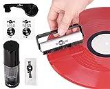 Kit de Limpieza de Discos para Discos de Vinilo con 2 Cepillos, Solución de Limpieza, Tela y Paños de Limpieza para Proteger y Restaurar la Colección de Discos LP