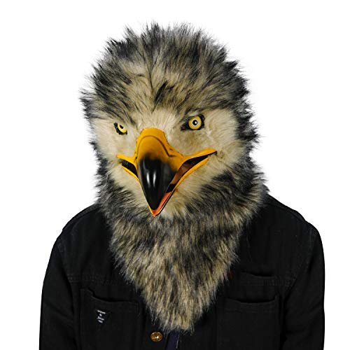 ifkoo Realistic Mouth Mover Eagle Mask Moving Mouth Jaw Fursuit Head Owl Mask (Eagle) Grey