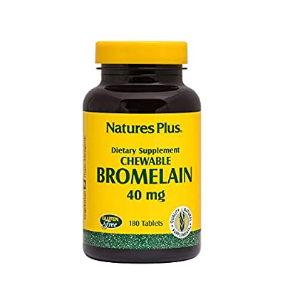 NaturesPlus Chewable Bromelain - 40 mg, 180 Chewable Tablets - Natural Proteolytic Enzyme Supplement, Sinus Support, Anti-Inflammatory - Vegetarian, Gluten-Free - 180 Servings