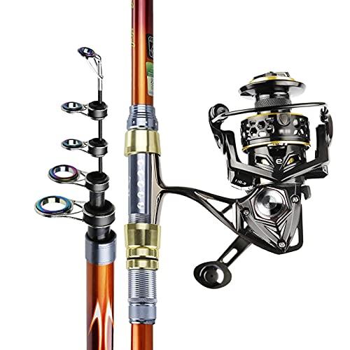 Pesca Rod Kit de caña de Pescar Fibra de Carbono Pole de Pesca telescópica y Carrete Combo Kit de Poste de Pesca para Agua Salada de Agua Dulce telescópico caña de Pescar (Size : 4.2M)