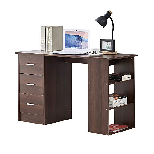 Redd Royal Computer Desk with Storage Home Office Desk for Small Space, Wooden PC Desk with 3 Drawers and 3 Open Shelves Writing Study Table (Walnut)