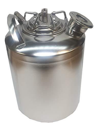 Gastrobedarf Westerbarkey Reinigungsbehälter aus Edelstahl 10l mit Flachfitting (A) z.B. für Bit, Krombacher