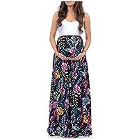 Gusspower Vestido de Maternidad, Ropa de Lactancia Floral Estampado Vestido Mujeres Maxi Embarazadas Verano Vestido de Sin Manga Faldas Largas
