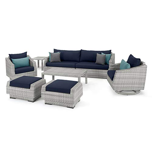 RST Brands Cannes Deluxe 8 Piece Sofa & Club Chair Set - Blue