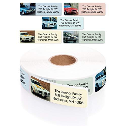 Muscle Cars Designer Assorted Rolled Address Labels with Elegant Plastic Dispenser