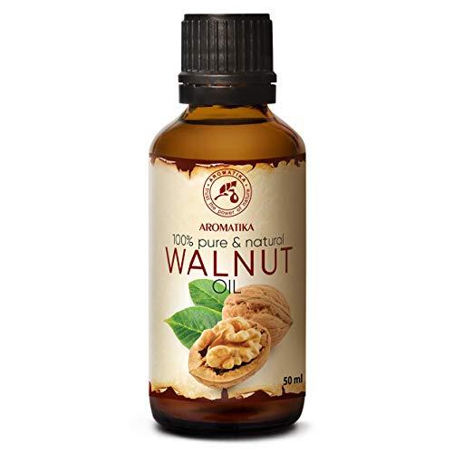 Huile de Noix 50ml - Juglans Regia Seed Oil - 100% Pur et Naturel - Soins Intensifs pour le Visage - Cheveux - Peau - Massage - Soins du Corps - Bouteille en Verre - Walnut Oil