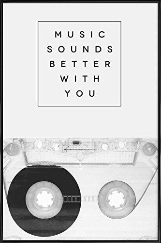 """Juniqe® Liebeszitate Valentinstag Poster im Kunststoffrahmen 60x90cm - Design """"Music Sounds Better with You"""" entworfen von Galaxy Eyes"""