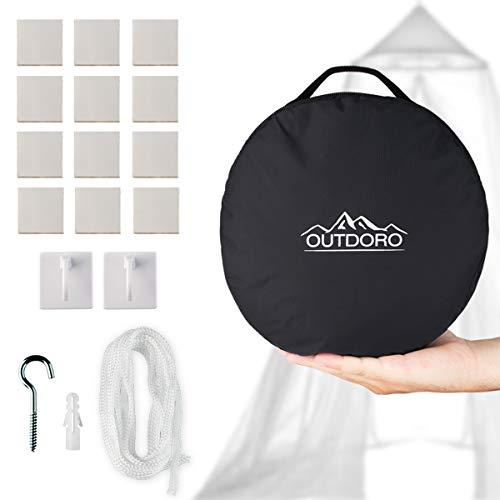 Outdoro Moskitonetz inklusive Klebehaken für Zuhause und Reisen extra-groß für Doppelbett & Einzelbett, Betthimmel