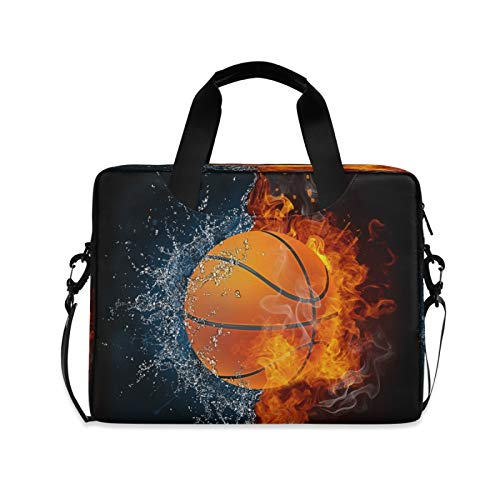 BGIFT Men Women Laptop Bag Fire Water Sport Basketball Laptop Case Sleeve 15.6 13 14 16 Inch Briefcase Messenger with Shoulder Strap Handle Notebook Computer Tablet Bags for Kids
