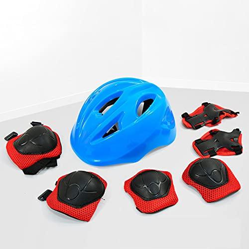 YONIISEA Casco Bici per Bambini, 7 Pezzi di Outdoor Gear Set Casco Scooter di Sicurezza per Bambini con Ginocchiere, Gomitiere, Protezioni per I Polsi Casco a per Ragazzo Ragazzaper 3~15,Blu