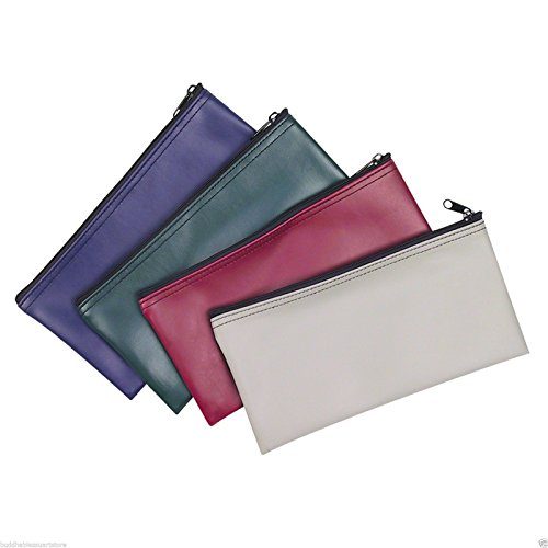 4 Piece Set PM Company Security Bank Deposit Bag / Utility Zipper Coin Bag / Cash Bag / Money Holder Pouch Safe Money Organizer Bag / 11 X 5.5 Inches (FREE RETURN) (4 Envelope - 1 of Each Color)