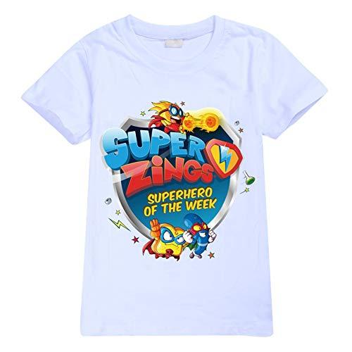 Ukgjhejjh Superzings Maglietta Manica Corta Anime Stampa Estate Girocollo Top Sezione Sottile Superiore Respirabile Ragazzo e Ragazza (Color : White01, Size : 150)