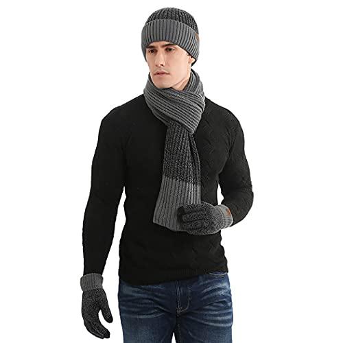 COSYOO Sombrero bufanda guantes conjunto grueso cálido suave transpirable Beanie Hat Texting Guantes Guantes térmicos para pareja moda a prueba de viento