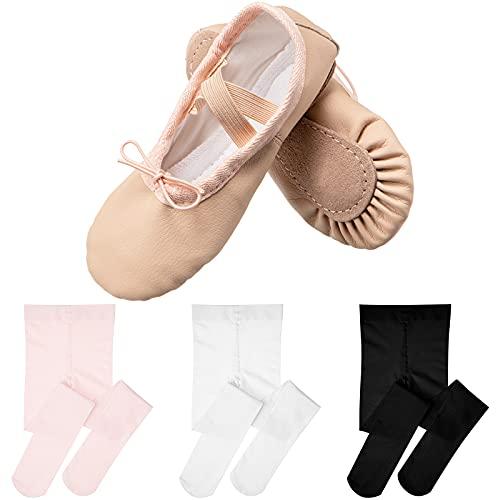 Zapatillas de Ballet Rosa de Niños Pequeños Zapatos de Ballet de Cuero PU y 3 Leggings Elásticos de Baile para Niñas (9 Zapatos de Niños, Calcetines M)