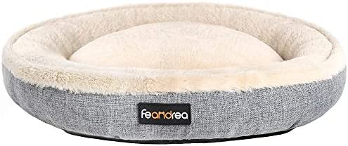 FEANDREA Dog Bed Pet Sofa for Dog Cat Donut Shape Anti Slip Washable Round 26 Inches Dia Gray product image