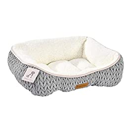 AllPetSolutions Charlie Range Beds – Chunky Knit Design Soft Warm Grey Dog Bed