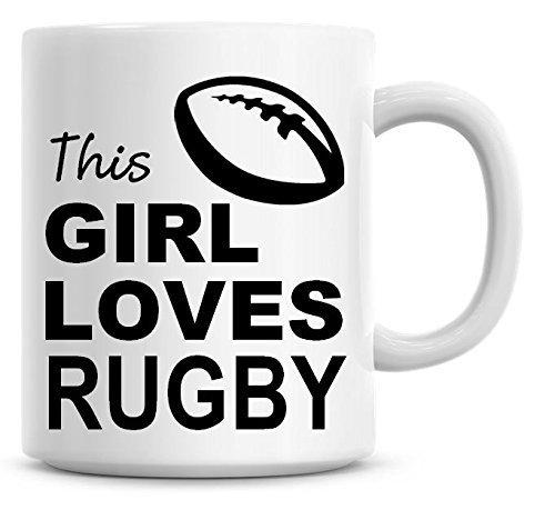 Taza de café con texto 'This Girl Loves Rugby'
