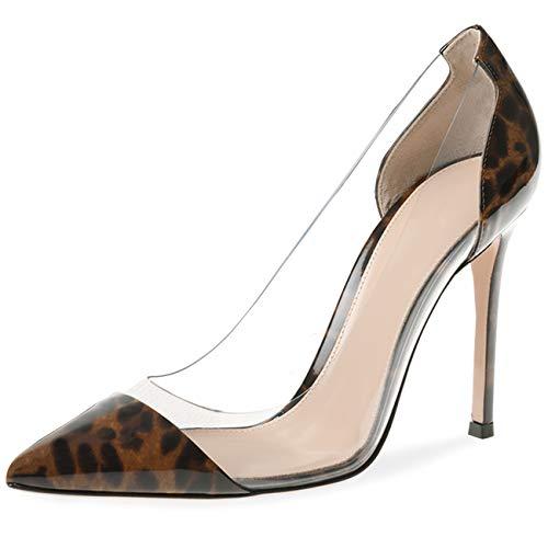 JiaBinji Bombas Transparentes para Mujeres Zapatos de tacón Alto Transparentes Zapatos de Boda Zapatos de tacón de Aguja Zapatos de Novia Mujeres Charol 38 Leopardo