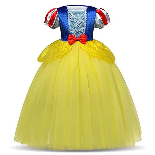 IBTOM CASTLE Blancanieves Disfraz con Capa Carnaval Traje de Princesa para Halloween Navidad Fiesta Cosplay Costume para Niñas Chicas Azul + Amarillo 2-3 Años